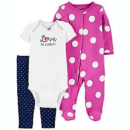 carter's® Size 6-9M 3-Piece Polka Dot Sleep & Play, Bodysuit and Pant Set in Purple
