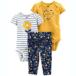 carter's® Size 0-3M 3-Piece Floral Little Character Set in Mustard