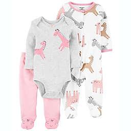 carter's® 6-9M 3-Piece Giraffe Sleep & Play, Bodysuit and Pant Set in Pink