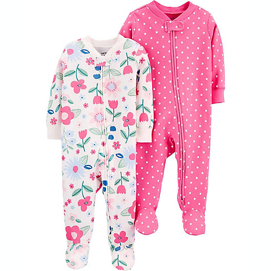 Alternate image 1 for carter's® 2-Pack Flowers/Polka Dots Cotton Zip-Up Sleep & Plays in Pink