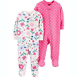 carter's® Size 0-3M 2-Pack Flowers/Polka Dots Cotton Zip-Up Sleep & Plays in Pink