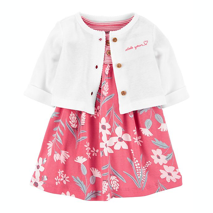 Alternate image 1 for carter's® 2-Piece Bodysuit Dress and Cardigan Set