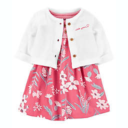 carter's® Preemie 2-Piece Flower Bodysuit Dress and Cardigan Set in Pink