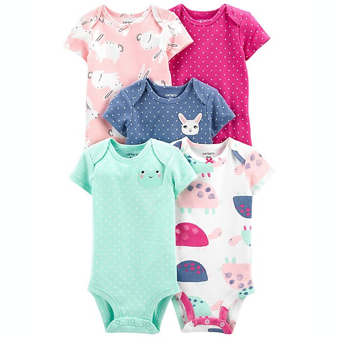 Alternate image 1 for carter's® 5-Pack Bodysuits in Teal/Purple