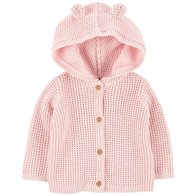 Alternate image 1 for carter's® Hooded Cardigan in Pink