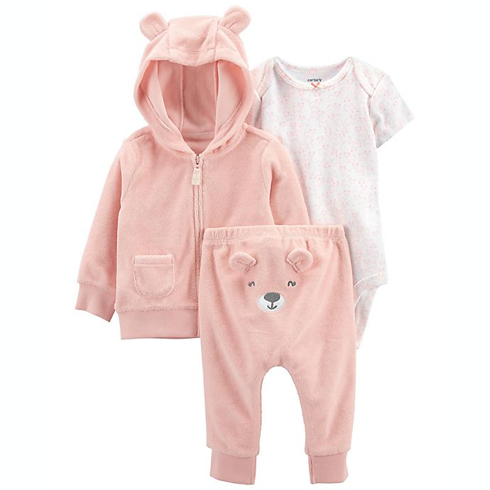 Alternate image 1 for carter's® 3-Piece Little Bear Jacket, Bodysuit, and Pant Set in Pink