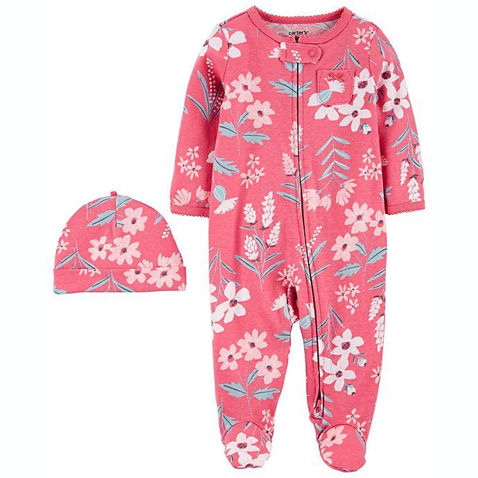 Alternate image 1 for carter's® 2-Pack Cap & Zip-Up Sleep 'N Play Set in Pink
