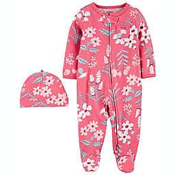 carter's® Size 0-3M 2-Pack Cap & Zip-Up Sleep 'N Play Set in Pink