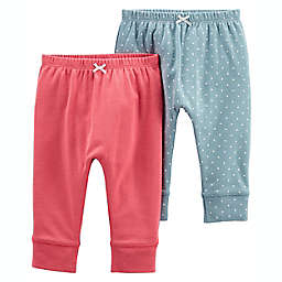 carter's® Size 3-6M 2-Pack Pull-On Pants in Green/Coral