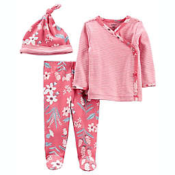 carter's® 3-Piece Flower Take-Me-Home Tee, Pant and Cap Set in Raspberry