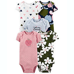 carter's® Size 12M 5-Pack Short Sleeve Bodysuits in Gold