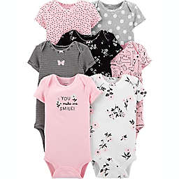 carter's® Size 18M 7-Pack Short Sleeve Bodysuits in Pink/White