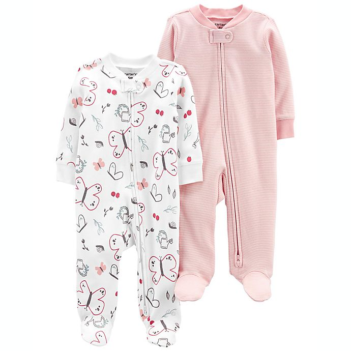 Alternate image 1 for carter's® 2-Pack Butterfly/Stripe Zip-Up Cotton Sleep & Plays in White/Pink