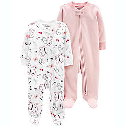 carter's® Size 0-3M 2-Pack Butterfly/Stripe Zip-Up Cotton Sleep & Plays in White/Pink