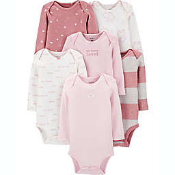 carter's® 6-Pack Long Sleeve Bodysuits in Pink/White