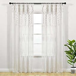 Lush Décor Boho Macramé 84-Inch Rod Pocket Window Curtain Panel in White