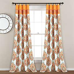 Lush Décor Harley Damask 84-Inch Rod Pocket Window Curtain Panels in Tangerine (Set of 2)