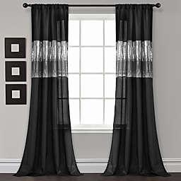 Lush Decor Night Sky 84-Inch Rod Pocket Window Curtain Panel in Black (Single)