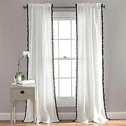 Lush Decor Pom Pom 108-Inch Window Curtain Window Curtain Panel in Black (Single)