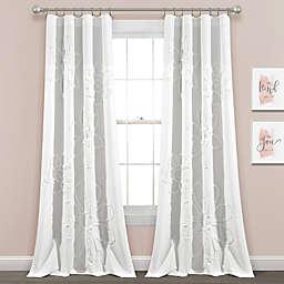 Lush Decor Ruffle Flower 84-Inch Window Curtain Panels in White (Set of 2)