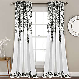 Lush Decor Tanisha 84-Inch Room Darkening Window Curtain Panels in Black/White (Set of 2)