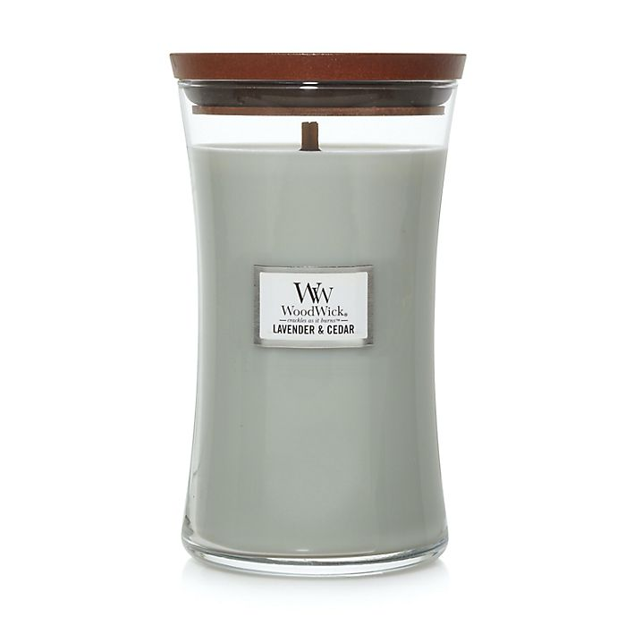 Alternate image 1 for WoodWick® Lavender & Cedar 21.5 oz. Large Hourglass Candle