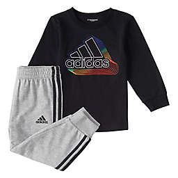 adidas® Cotton Tee and Jogger Set in Black/Grey