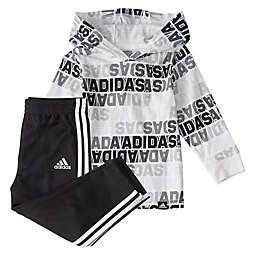adidas® Printed Hooded Top and Pant Set in White