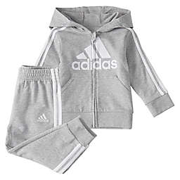 adidas® Size Melange Fleece Hooded Jacket and Pant Set in Grey
