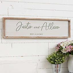 Classic Elegance Personalized Wedding Whitewashed Barnwood Wall Art