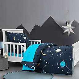 Hello Spud Cool Space Dudes 4-Piece Organic Cotton Toddler Bedding Set in Navy