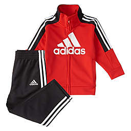 adidas® 2-Piece 3-Stripe Tricot Tracksuit Set in Red