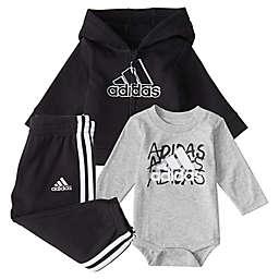 adidas® 3-Piece Fleece Jacket Set in Black