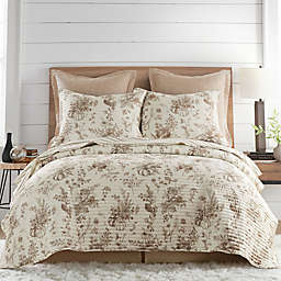 Harvest Toile Reversible Quilt Set in Charcoal/Cream