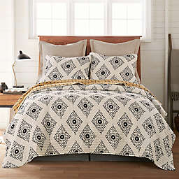 Oden 2-Piece Reversible Twin Quilt Set in Grey/Yellow