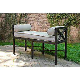 Leisure Made Camden Outdoor Bench in Black with Cushions