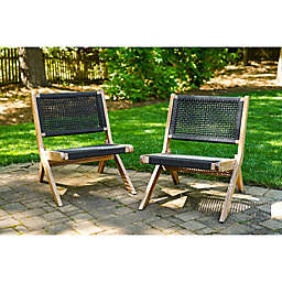 Leisure Made Athens Outdoor Lounge Chair in Charcoal Grey (Set of 2)