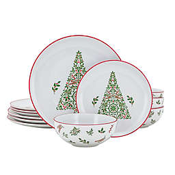 Bee & Willow™ Christmas 12-Piece Dinnerware Set in White/Red