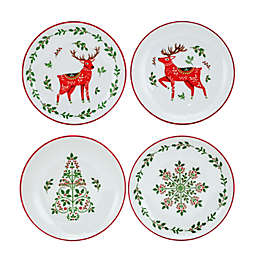 Bee & Willow™ Christmas Appetizer Plates in White/Red (Set of 4)