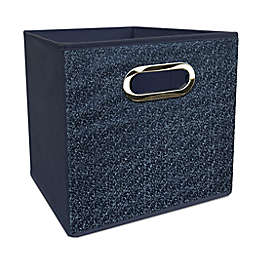 Simply Essential™ 11-Inch Denim Collapsible Bin in Blue