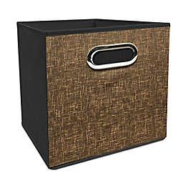 Simply Essential™ 11-Inch Tweed Print Collapsible Bin in Brown