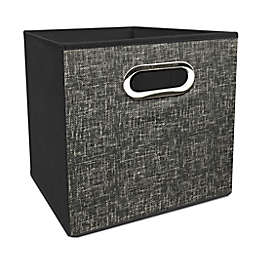 Simply Essential™ 11-Inch Tweed Print Collapsible Bin in Charcoal