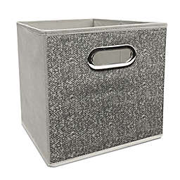 Simply Essential™ 11-Inch Textured Collapsible Bin in Grey