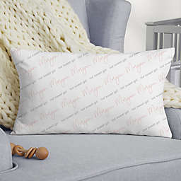 Simple and Sweet Baby Girl 20-Inch Velvet Lumbar Throw Pllow in White