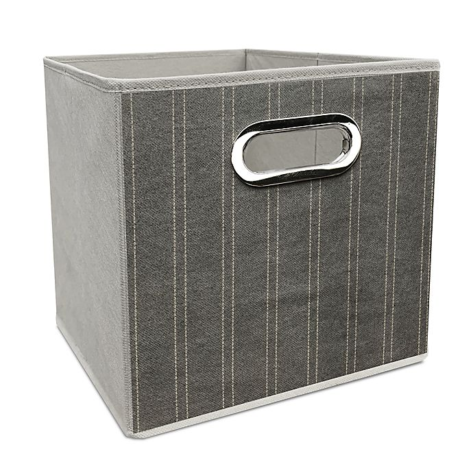 Alternate image 1 for Simply Essential™ 11-Inch Striped Collapsible Bin in White/Grey