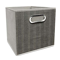 Simply Essential™ 11-Inch Striped Collapsible Bin in White/Grey