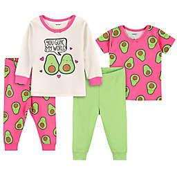 Gerber® 4-Piece Avocado Snug Fit Pajamas in Pink