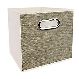 Simply Essential™ 11-Inch Tweed Print Collapsible Bin in Linen