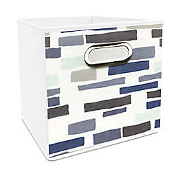 Simply Essential™ 11-Inch Brick Print Collapsible Bin in Blue