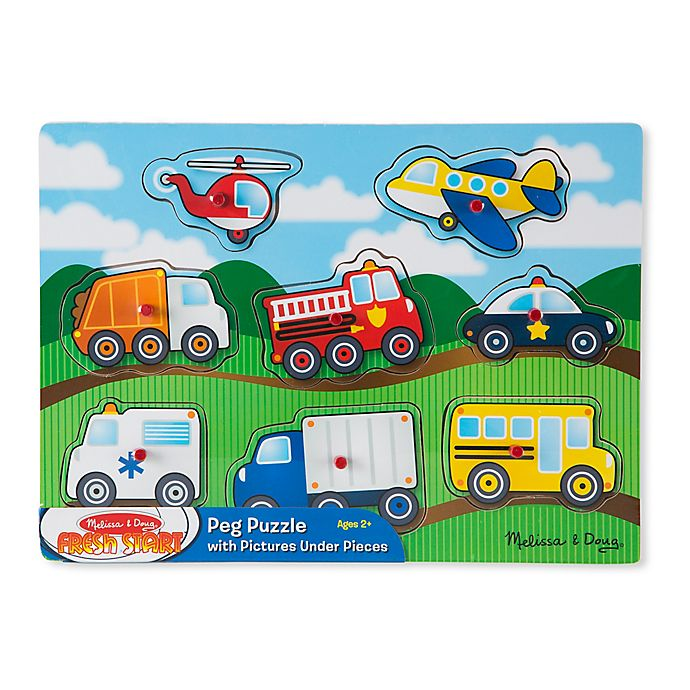 Alternate image 1 for Melissa and Doug® Vehicles 8-Piece Wooden Peg Puzzle